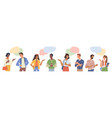 multiethnic people set speech bubble chatting box vector image vector image