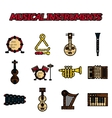 Musical instruments flat icon set vector image vector image