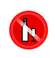 no alcohol drinks prohibits sign red forbidding vector image