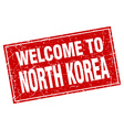 North Korea red square grunge welcome to stamp vector image vector image