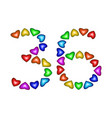 number 36 thirty six of colorful hearts on white vector image