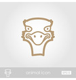 Ostrich outline thin icon Animal head vector image vector image
