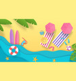 paper cut summer beach vacation background with vector image vector image