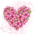 Peach blossom in the shape of heart vector image vector image