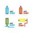 Pencil logo Outline pencil icon Stationery store vector image vector image