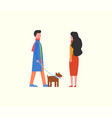 people walking dog on leash couple domestic pet vector image vector image