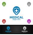 pin locator cross medical hospital logo vector image vector image