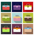 plastic metal leather suitcase bag travel vector image vector image