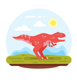 prehistoric landscape mountains and tyrannosaur vector image