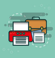 printer business briefcase and paper document vector image