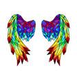 rainbow polygonal folded wings vector image vector image