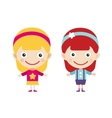 Redhead and blonde cartoon girls in vector image