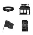 ring pizzeria and other web icon in black style vector image