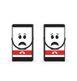 sad unhappy tired smart phone character vector image vector image