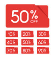 sale tag set 10 20 30 40 50 60 70 80 90 percent vector image