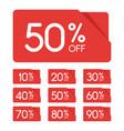sale tag set 10 20 30 40 50 60 70 80 90 percent vector image vector image