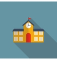 School Building Flat Icon with Long Shadow vector image