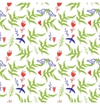 Seamless pattern with red flowers and birds vector image vector image