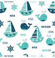 seamless pattern with ships and whales vector image vector image