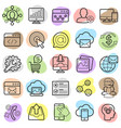 seo optimization and marketing trendy icon set vector image