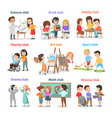 set of different clubs for school children card vector image