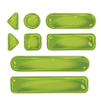 Set of glass green buttons for game interfaces vector image