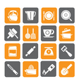 Silhouette kitchen gadgets and equipment icons vector image