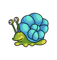 smiling cute green snail with colorful blue shell vector image vector image