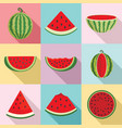 watermelon icons set flat style vector image
