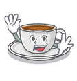waving coffee character cartoon style vector image vector image