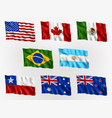 waving flags americas and australia vector image