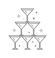 wedding pyramid from glasses line art icon vector image vector image