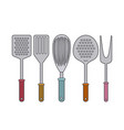 white background with set collection kitchen vector image vector image