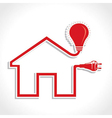 Wired Home Icon with bulb and plug vector image vector image