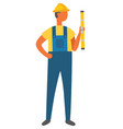 workman with measuring roulette worker with ruler vector image