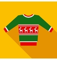 Green Christmas Sweater in Flat Style with Long vector image