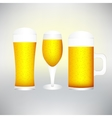 set with different glasses of beer on white- vector image