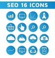 Blue SEO Business Icons Set with Computer Graph vector image