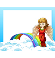 An empty template with a rainbow and an angel vector image vector image