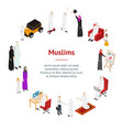 arab muslims people 3d banner card circle vector image vector image