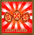 background with Easter eggs and golden rays vector image vector image