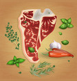beef t-bone steak with delicious sauces and spices vector image vector image