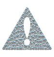 beware triangle sign collage of death skull tag vector image
