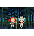 Boy and girl camping out at night vector image vector image