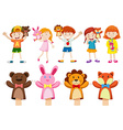 Boys and girls with hand puppets vector image vector image