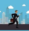 businessman running in the cityscape vector image