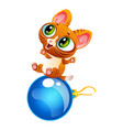 cartoon cheerful kitty sitting on decoration ball vector image vector image