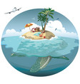 cartoon island on a sea turtle for a vector image
