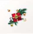 christmas flat lay composition with red gift box vector image vector image