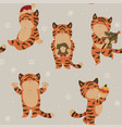 christmas seamless pattern with cute tigers vector image